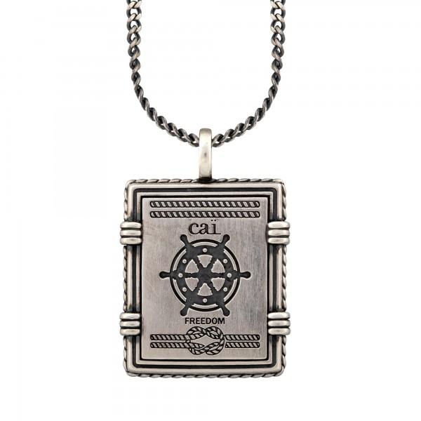 cai Anhänger mit Kette 925/- Silber matt oxidiert Sailor Wappen
