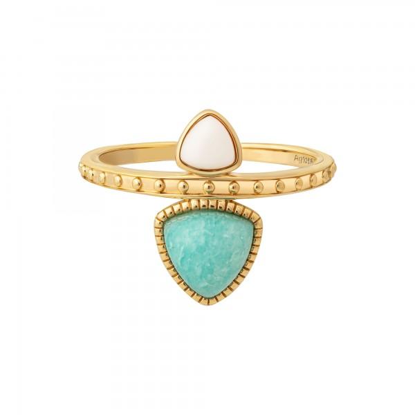 cai Ring 925 Silber vergoldet Dreiecke Amazonit & weißer Achat