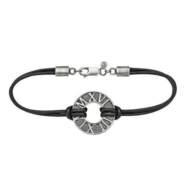 cai Armband 925/- Sterling Silber matt-oxidiert mit Leder