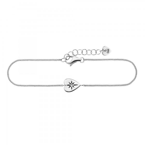 cai 925/- Sterling Silber rhodiniert Zirkonia Herz Armband