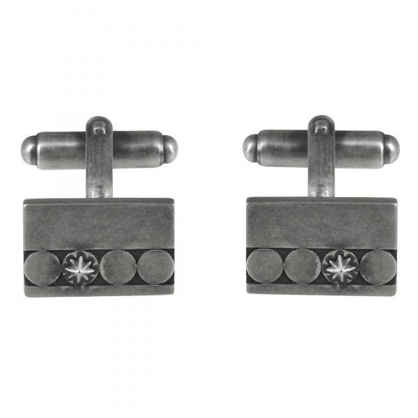 cai Manschettenknöpfe 925/- Sterling Silber oxidiert Muster Stern