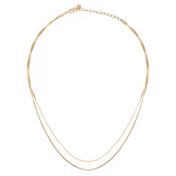 cai Collier 925/- Sterling Silber Venezianer Kette vergoldet zweireihig