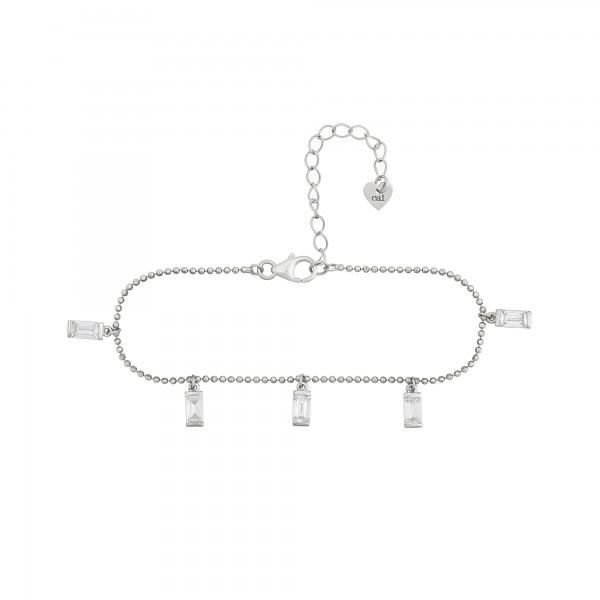 cai Armband 925/- Sterling Silber rhodiniert Anhänger Zirkonia Baguette