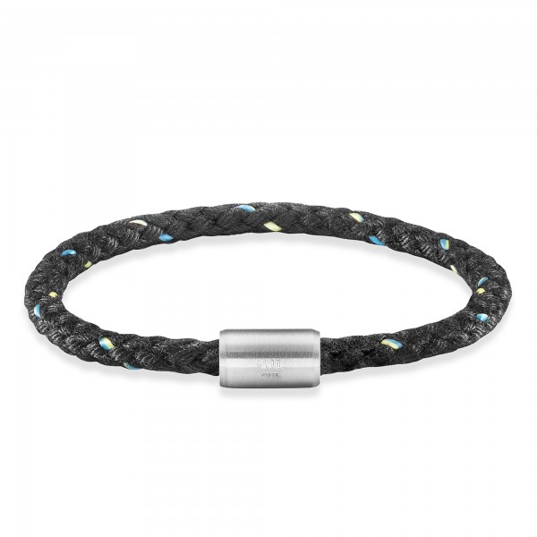 cai Edelstahl Textil schwarz 23cm Armband