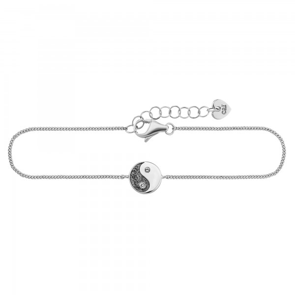 cai Armband 925/- Sterling Silber rhodiniert Zirkonia Yin Yang