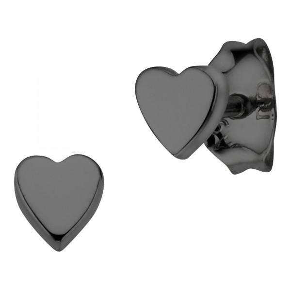 cai Ohrstecker 925/- Sterling Silber schwarz-rhodiniert Herz