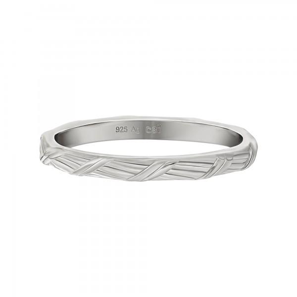 cai Ring 925 Silber rhodiniert Flechtoptik Stacking