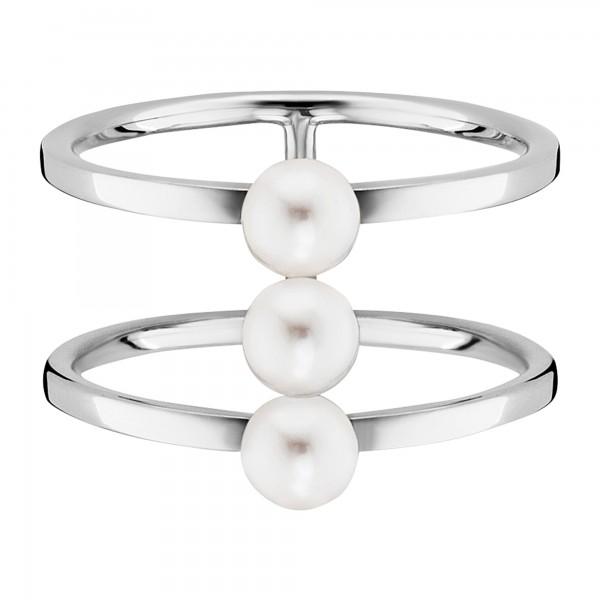 cai Ring 925-/ Sterling Silber rhodiniert Perlen