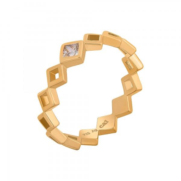 cai Ring 925 Silber vergoldet Rauten mit Zirkonia