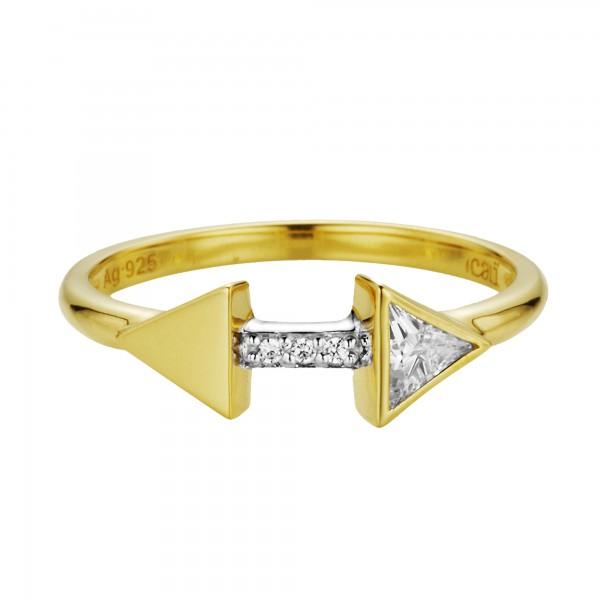 cai Ring 925/- Silber vergoldet Zirkonia Pfeile