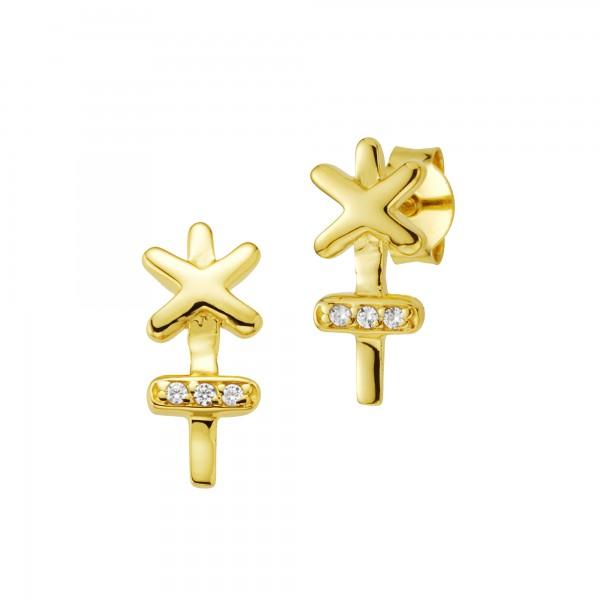 cai Ohrstecker 925/- Silber vergoldet Zirkonia Kreuz