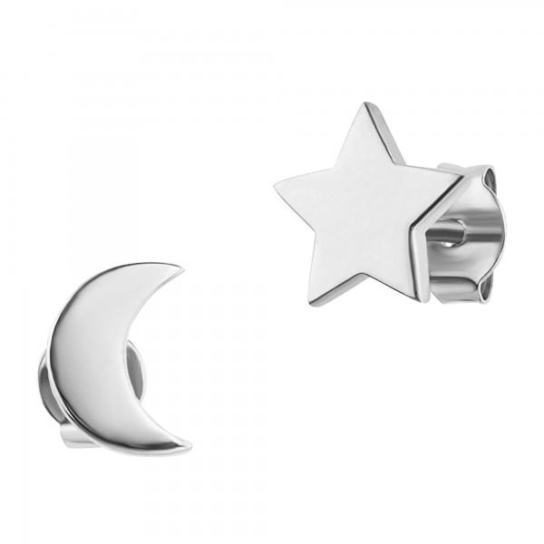 cai Ohrstecker 925/- Sterling Silber rhodiniert Mond Stern