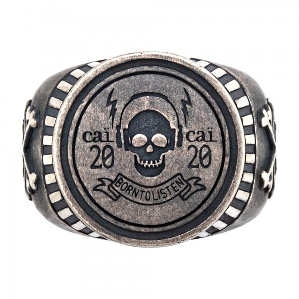 cai Ring 925/- Sterling Silber Siegelring matt oxidiert Rock Music Skull Wappen