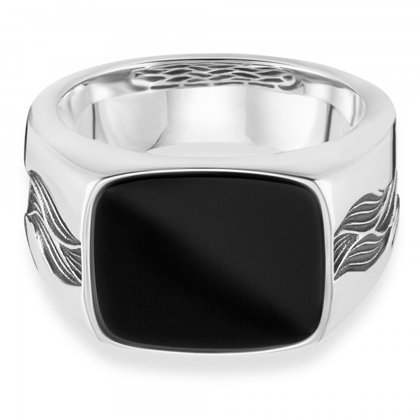 cai Ring 925/- Sterling Silber rhodiniert oxidiert Onyx