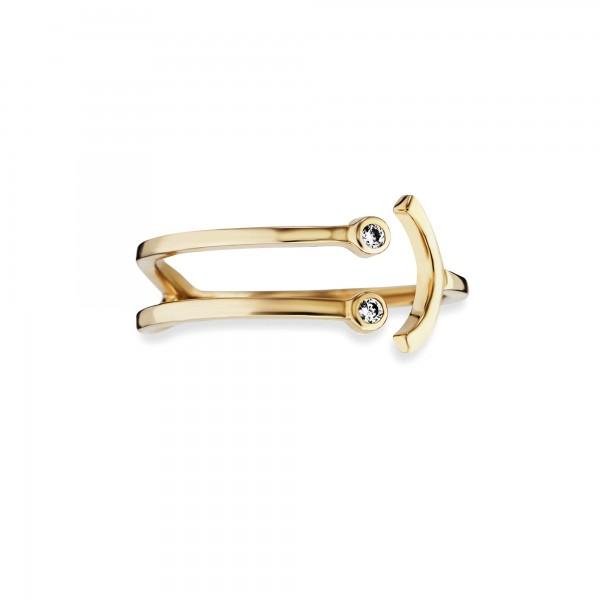 cai Ring 925/- Sterling Silber vergoldet Zirkonia Emoji