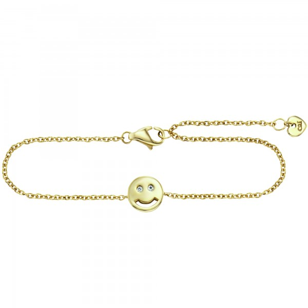 cai Armband 925/- Sterling Silber vergoldet Zirkonia Emoji