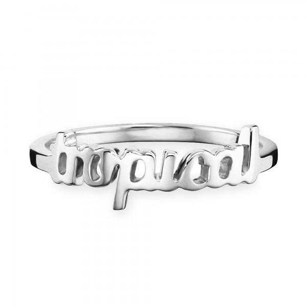 cai Ring 925/- Silber rhodiniert Schriftzug tropical