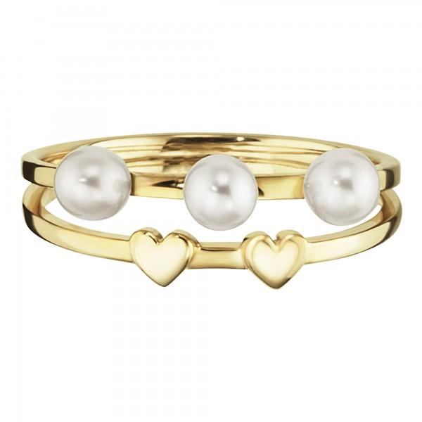 cai Ring 925/- Sterling Silber vergoldet Perlen Herz
