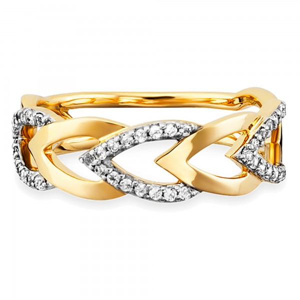 cai Ring 925/- Sterling Silber vergoldet Topas Herzen