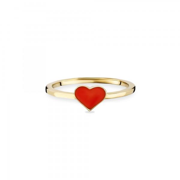 cai Ring 925/- Sterling Silber vergoldet Herz rot