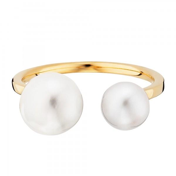 cai Ring 925/- Sterling Silber gelb vergoldet Perlen
