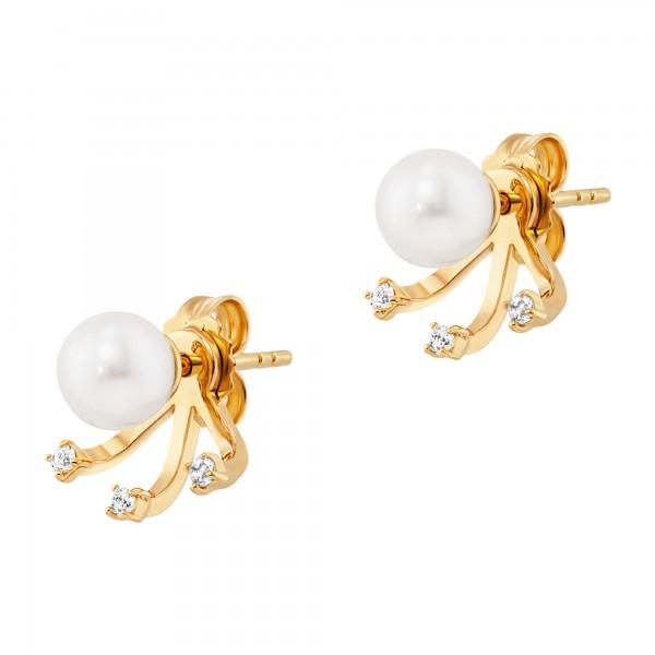 cai Ohrstecker 925/-Sterling Silber vergoldet Perlen Topas