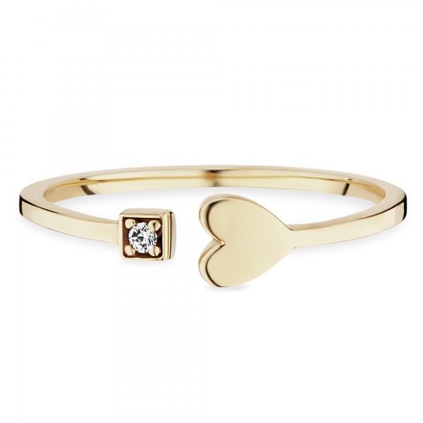 cai Ring cai - Damen-Ring 925/- Sterling Silber vergoldet Zirkonia