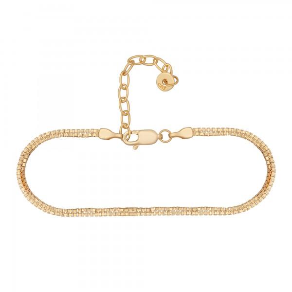 cai Fußkette 925/- Sterling Silber vergoldet Venezianer Kette zweireihig