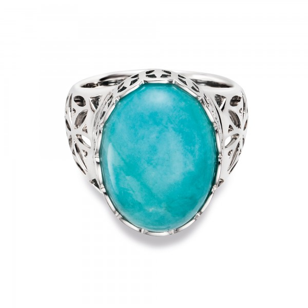cai Ring 925/- Sterling Silber rhodiniert Amazonit