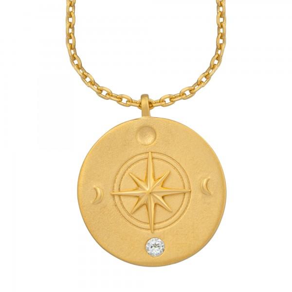cai Halskette Element Erde 925/- Sterling Silber vergoldet Weißtopaz