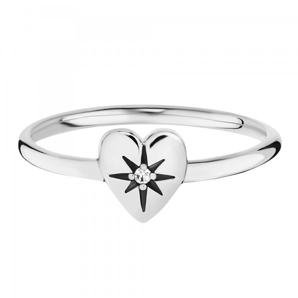cai Ring 925/- Silber rhodiniert Zirkonia Herz
