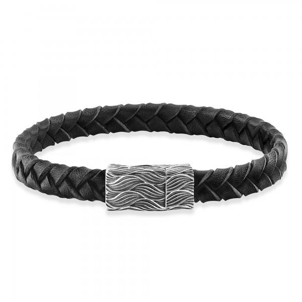 cai Armband 925/- Sterling Silber oxidiert Lederband 19cm