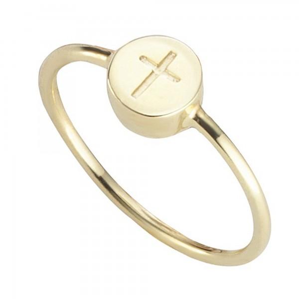 cai Ring 925/- Sterling Silber vergoldet Kreuz