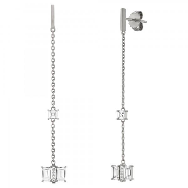 cai Ohrhänger 925/- Sterling Silber rhodiniert mit Weißtopas