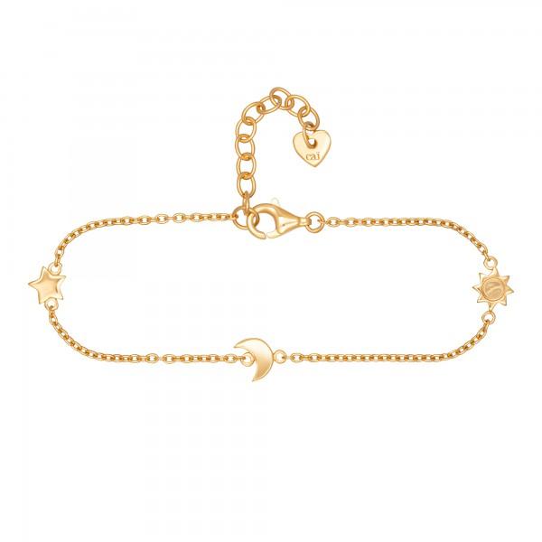cai Armband 925/- Sterling Silber vergoldet Sonne - Mond - Stern