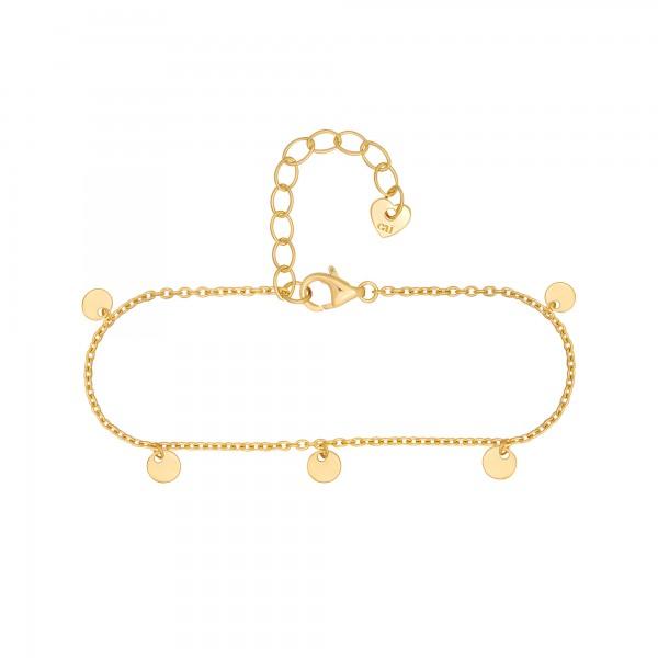 cai Armband 925 Silber vergoldet Anhänger Plättchen
