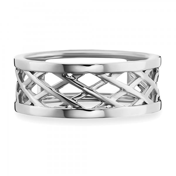cai Ring 925/- Sterling silber rhodiniert Gitterstruktur