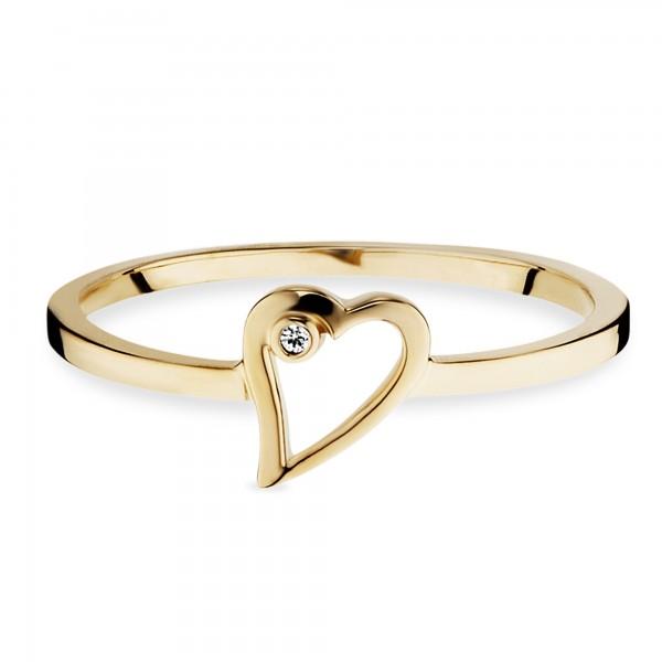 cai Ring 925/- Sterling Silber vergoldet Zirkonia Herz