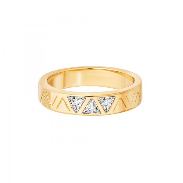 cai Ring 925 Silber vergoldet mit Zirkonia Dreiecken