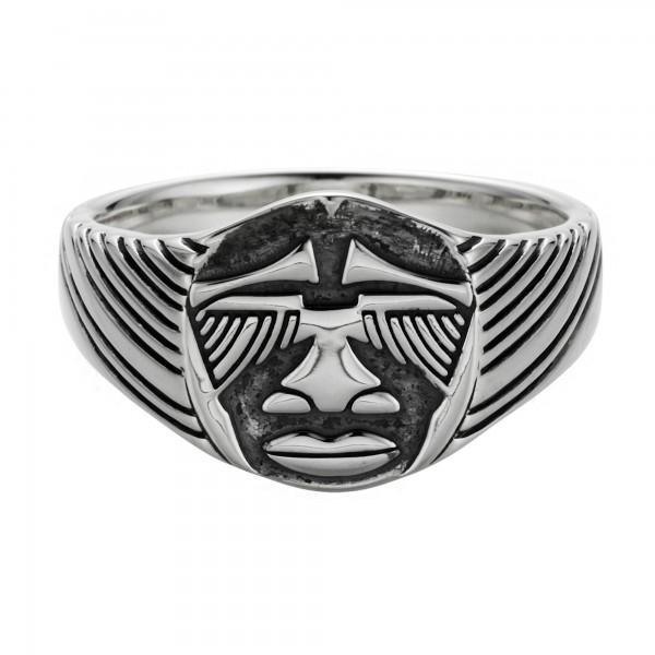 cai Ring 925/- Sterling Silber oxidiert Maske Afrika