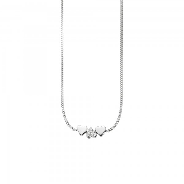 cai Collier 925/- Sterling Silber rhodiniert Zirkonia Herzen