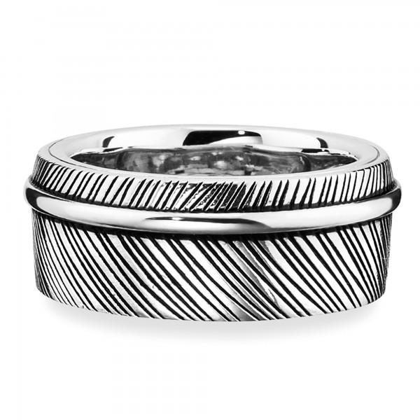 cai Ring 925/- Sterling Silber rhodiniert Feder