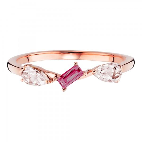 cai Ring 925/- Silber rotvergoldet Rhodolith Rosenquarz