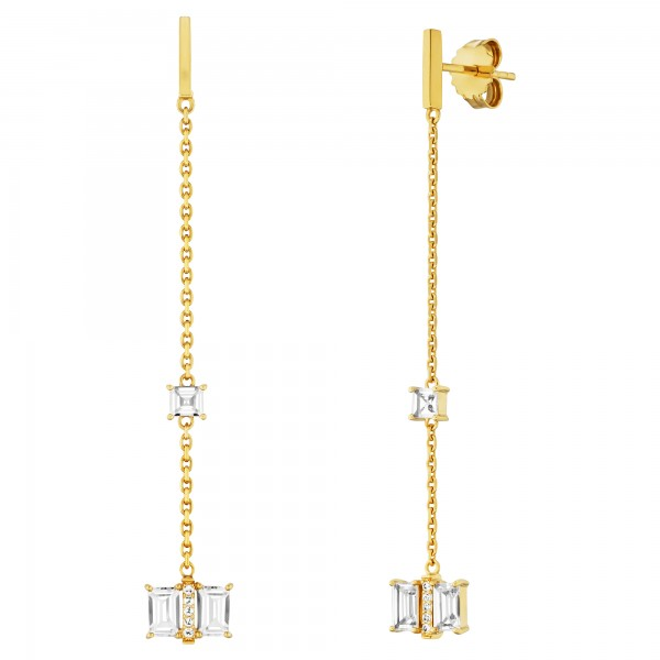 cai Ohrhänger 925/- Sterling Silber vergoldet mit Weißtopas