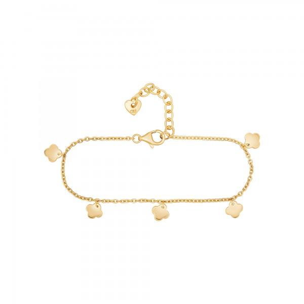 cai Armband 925 Silber vergoldet Anhänger Clover / Kleeblatt