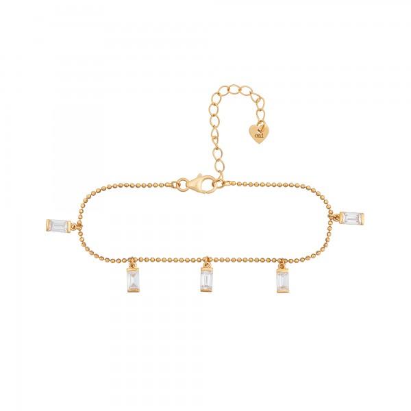 cai Armband 925/- Sterling Silber vergoldet Anhänger Zirkonia Baguette