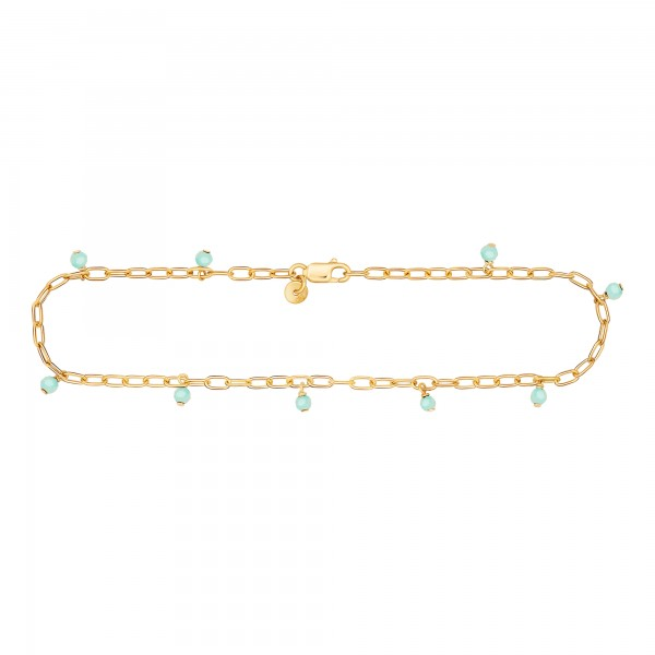 cai Fußkette 925 Silber vergoldet Amazonit