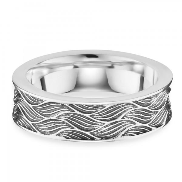 cai Ring 925/- Sterling Silber rhodiniert oxidiert Wellen