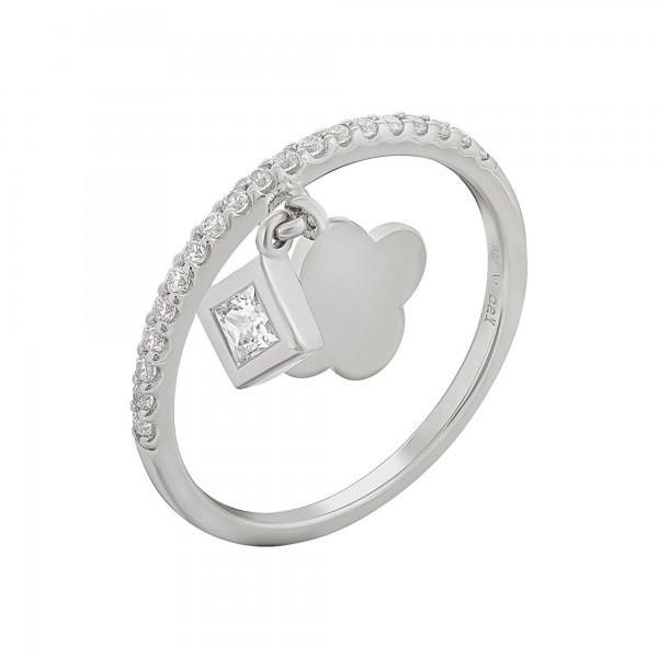 cai Ring 925 Silber rhodiniert mit Anhägern Kleeblatt Zirkonia
