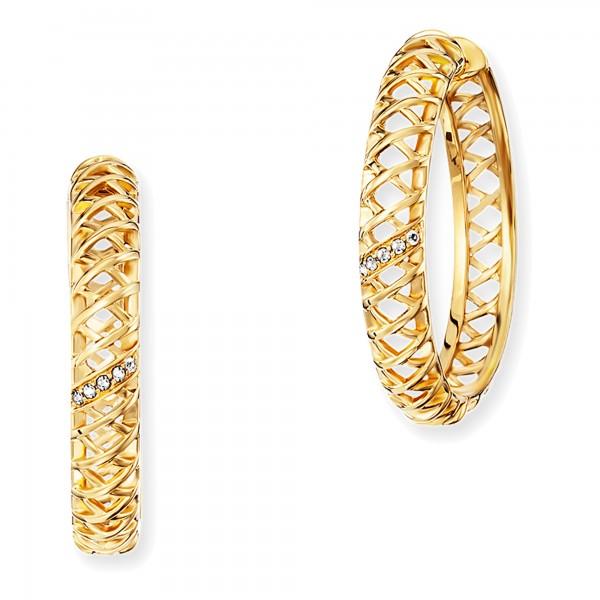 cai Creolen 925/- Sterling Silber vergoldet Topas